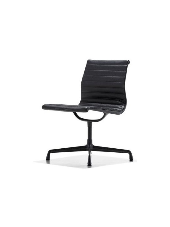 Herman Miller - Eames Aluminum Side Chair Powder-Coated Frame - When Charles and Ray Eames designed the Eames Aluminum Management Chair and Side Chair (1958), they created a revolution in seating that has lost none of its edge. These chairs were originally developed as a special project for a private residence being designed by Eero Saarinen and Alexander Girard. Moving away from the Eameses' shell forms of the 1940s, the designers combined a newly affordable aluminum frame with a sling seat that subtly conforms to the body's shape. This original is an authentic, fully licensed product of Herman MillerÆ, Inc. Eames is a licensed trademark of Herman Miller. Made in U.S.A.†