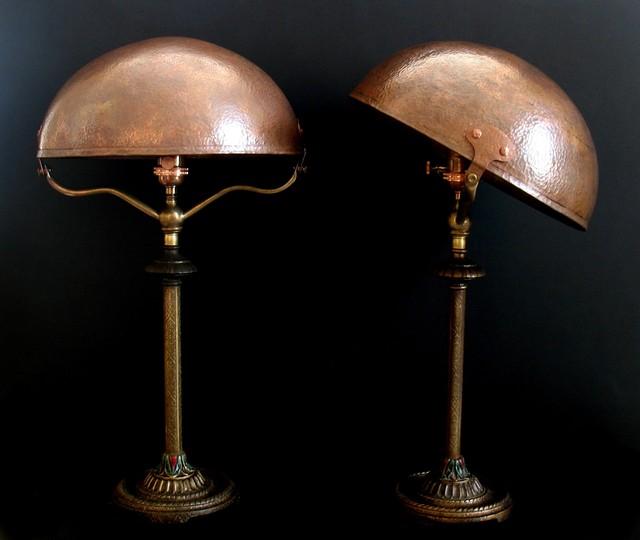 Pair Of BridgesHames Copper Shade Table Lamps Eclectic