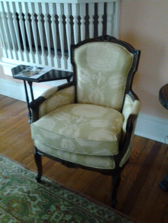 Reuphosltered furniture - Reupholstered - Antique chair after a fire