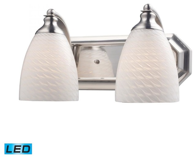 Tropical Bathroom Vanity Lights : Two Light Satin Nickel White Swirl Glass Vanity - Tropical - Bathroom Vanity Lighting - by We ...