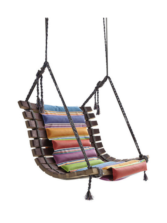 ecofirstart - MISS DONDOLA SWING CHAIR - A design donated by famous Angela Mossoni, this playful, fun and beautifully crafted swing-chair is made from reclaimed wood from wine barrels and the seat is upholstered in one of the most notable Missoni fabrics
