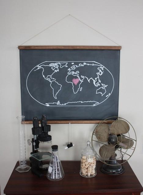 Chalkboard World Map contemporary-artwork