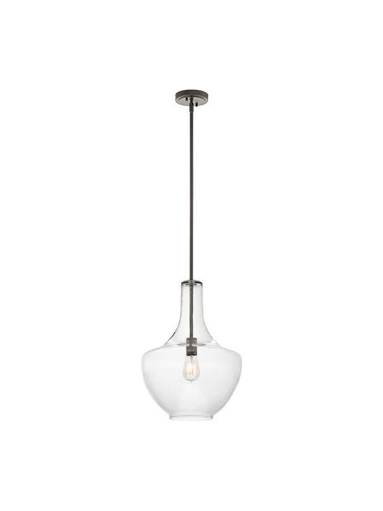 Kichler - Kichler 42046OZ Everly Single-Bulb Indoor Pendant with Clear Glass Shade - Kichler 42046 Everly Clear Glass Pendant
