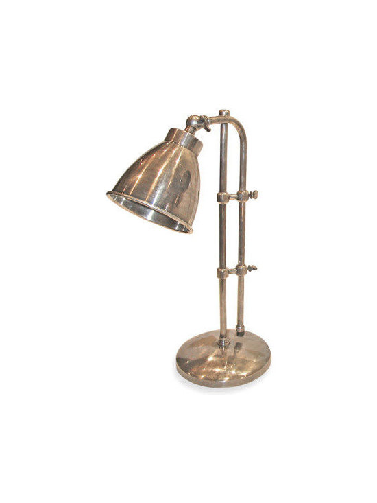 Go Home - Pharmacy Lamp - Banish boring desk lamps from your life with this retro charmer. Fashioned from brass with an antique nickel finish, this light is equipped with thumb screws that let you adjust the height and the angle of the head, shedding illumination exactly where you need it. Perfect for the nightstand, too — or anywhere you want to add a little industrial allure.