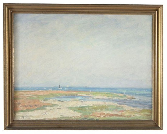 """Pre-owned Beach Impression Oil on Canvas - 1931 - Beachscape original oil on canvas initialed """"P.P"""" and dated 1931 lower left corner. Displayed in antique gilt gold wood frame."""