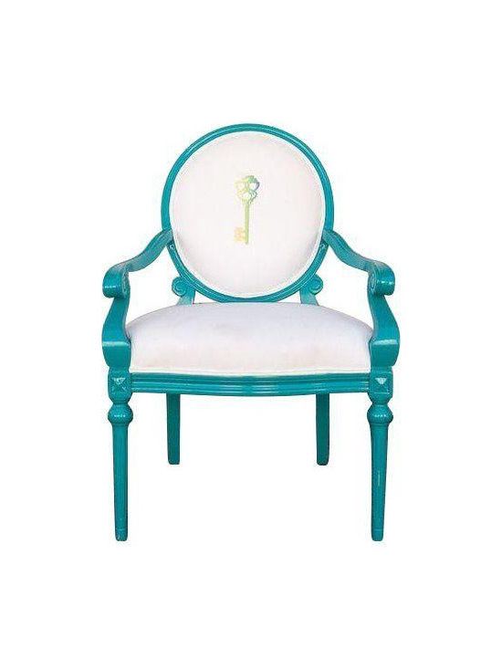 Louis Style Side Chair In Blue -