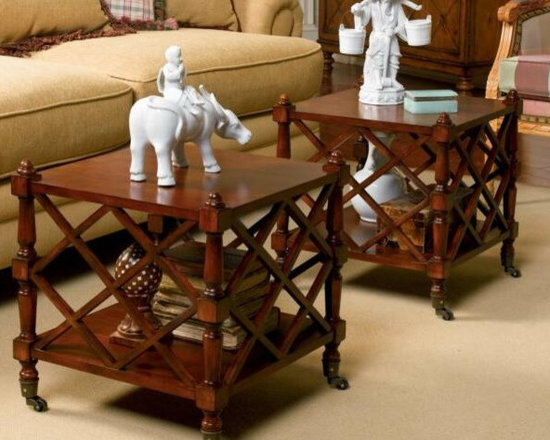 Chinese Chippendale Pair of Coffee Tables - Coming soon at Charlotte and Ivy!  $519 for the pair.  Brass casters.  Birch solid wood with mahogany veneers.  Superb shelves for storage.  Pull apart or push together for the ultimate versatility and style.