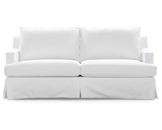 Charlotte Sofa - Framed by slim track arms, our Charlotte sofa's plush cushioning and ample seating offers a comfortable solution for less-than-large living spaces. Resting on wood legs, this flexible seating collection delivers large comfort, even in the smallest of spaces.