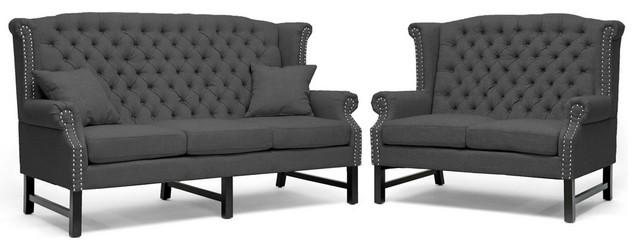 Baxton Studio Sussex Dark Gray Linen Sofa Set traditional-sofas