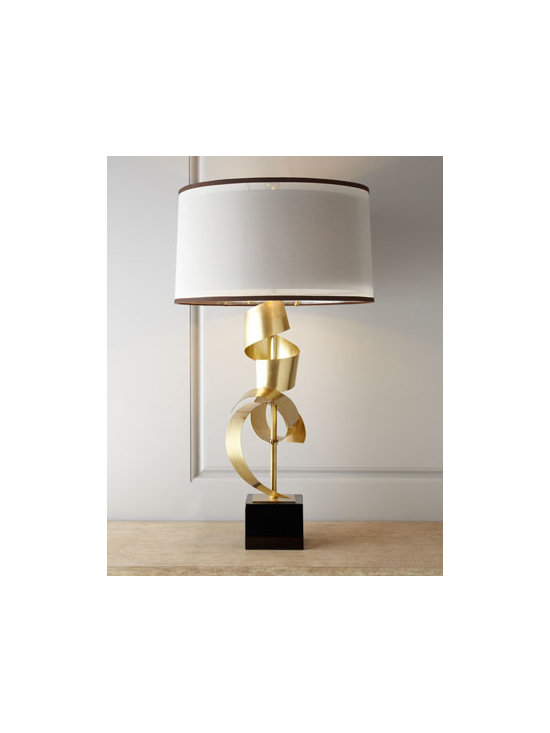 "John-Richard Collection - John-Richard Collection ""Brass Curls"" Table Lamp - As much art as lighting, this impressive lamp features a body formed from free-form brass curls wrapped around a central post and mounted on a block of black glass. From the John-Richard Collection. Handcrafted of brass and glass. Sheer silk over har..."