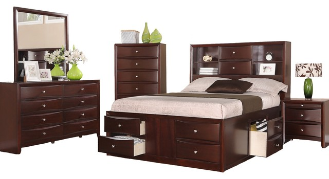 espresso captains storage bed set size 5 pc