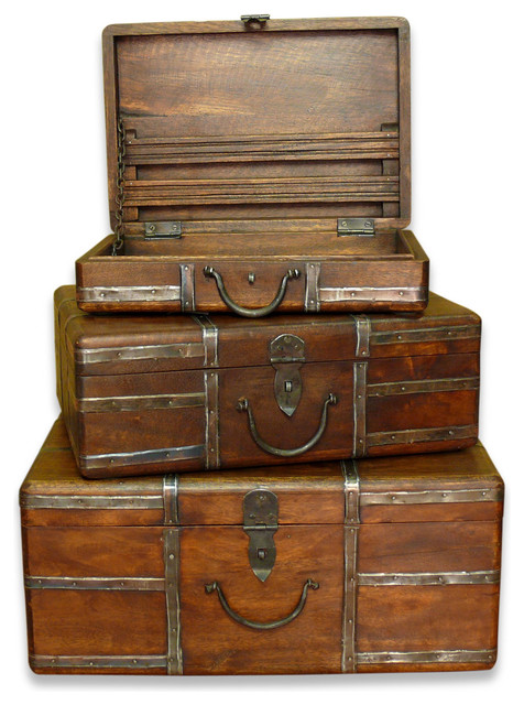 Amir wood and iron rustic vintage travel trunks - Decorative trunks and boxes ...