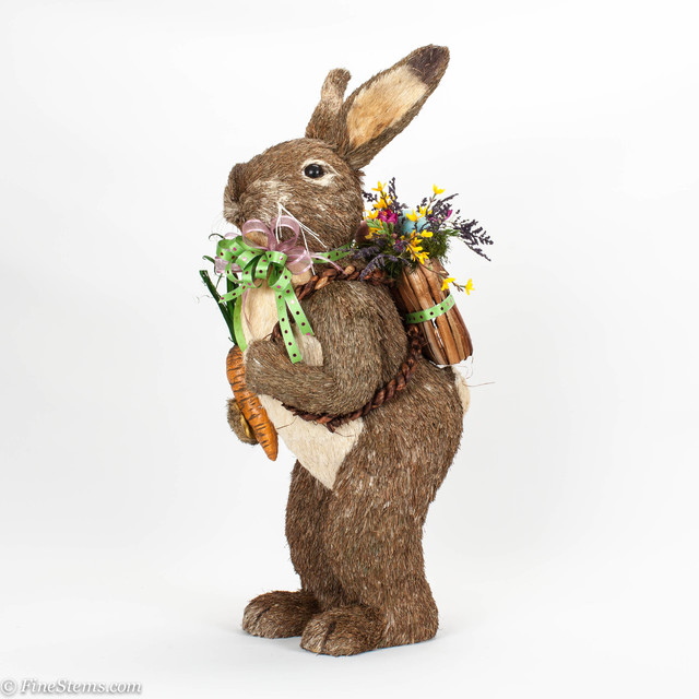 35 sisal spring rabbit with carrot and a custom spring for Rabbit decorations home