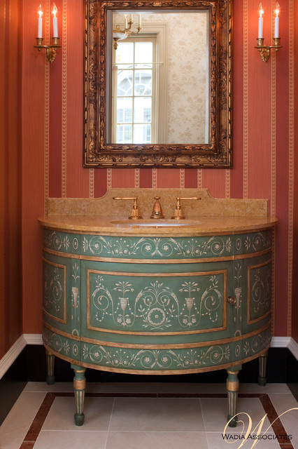 French Style Meets Georgian Elements in this Wadia Country House traditional-powder-room
