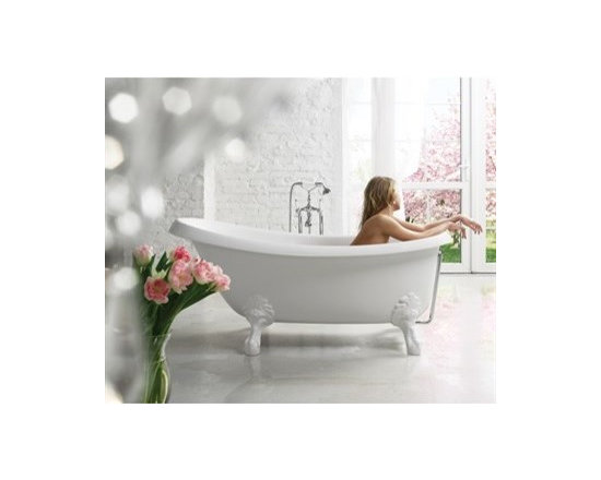 "Aquatica - Aquatica Nostalgia Freestanding AquaStone Bathtub - White - The Nostalgia freestanding bathtub is a warm blend of classical styling's and the excessive rigor of modern design. Transforming any bathroom into a sanctuary dedicated to the body, the Nostalgia by Aquatica becomes the heart of the home where you can withdraw from the rational everyday world. The legs of the Nostalgia are available in a solid ash wood or white stone finish with matching waste and overflow. There is no single element of a bathroom that denotes style and elegance so succinctly as an Aquatica freestanding bathtub. Challenge the ordinary and soak in the luxury you deserve.Aquatica's bathtubs offer modern glamour at affordable prices. The Aquatica line is diverse enough to encompass both bathtubs with classical elegance that match the style of your bath and bathtub models that are distinctive and unique as the centerpiece of your remodel.FeaturesStriking upscale modern designFreestanding constructionSolid, one-piece construction for safety and durabilityExtra deep, full-body soakErgonomic design forms to the body's shape for ultimate comfortQuick and easy installationEcoMarmor material provides for unparalleled heat retention and durabilityHypoallergenic surfaceColor will not fade or lose its brilliance overtimePreinstalled cable drive pop up and waste-overflow fitting includedDesigned for one or two person bathingNon-porous semi-glossy surface for easy cleaning and sanitizingAdjustable height legs100% recyclable and fire-resistantChrome plated drainLegs available in solid ash wood or white stone25 Year Limited WarrantyCode compliant with American standard 1.5"" waste outletsSpecificationsOverall Dimensions: 67 in. L X 32.75 in. W X 29.75 in. HDepth to Overflow Drain: 15.4 in.Interior Depth: 18.5 in.Interior Length (Top): 63.5 in.Interior Width (Top): 32 in.Interior Length (Bottom): 43.3 in.Interior Width (Bottom): 16.25 in.Weight: 185 lbsCapacity: 59 GallonsShape: UniqueDrain Placement: ReversibleSpec Sheet Ash Brown Tub LegsSpec Sheet White Stone Tub LegsNote: This model with Ash Brown legs usually ships in 4-6 weeks. This model with White Stone legs usually ships in 1-2 days. Please allow an additional 2-3 business days for order transmittal and verification."