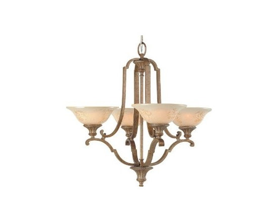 Royce Lighting - Royce Lighting Belcaro Collection 4-Light Chandelier, Gilded Imperial Silver - Capturing the allure of old world elegance, these fixtures glisten in gilded imperial silver. The shades in cream sandblasted glass delicately adorn each gentle scrolling arm. The Belcarlo Collection four light chandelier is a beautifully designed fixture that adds a classic touch to your home.