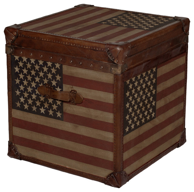 Stars and Stripes Modern Industrial Leather Trunk Side End Table eclectic-side-tables-and-end-tables