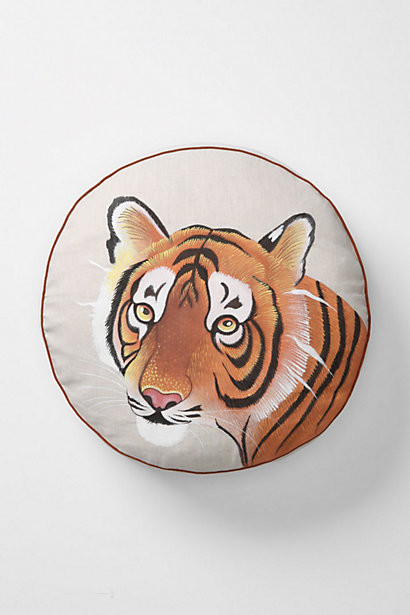 Handpainted Tiger Pillow eclectic-decorative-pillows