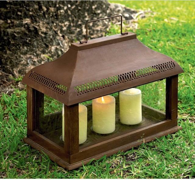 Antique Rectangular Lantern traditional-candleholders