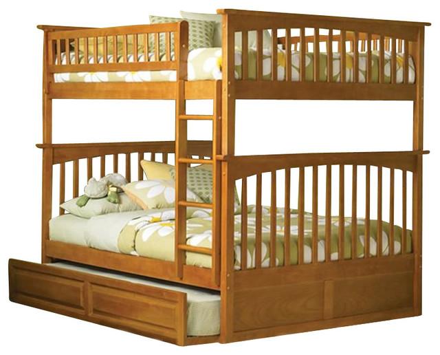 Atlantic Furniture Columbia Full over Full Bunk Bed in Caramel Latte transitional-beds