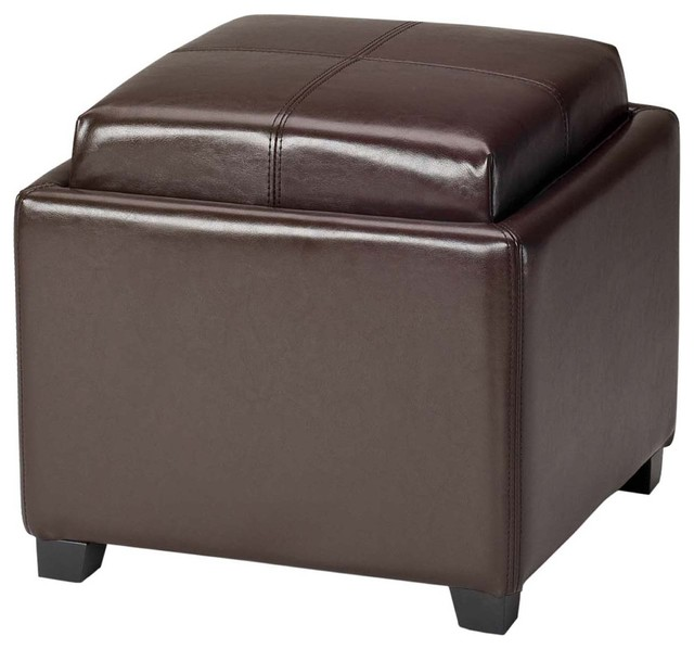 Safavieh Harrison Storage Brown Leather Tray Ottoman - Contemporary - Serving Trays - by ...