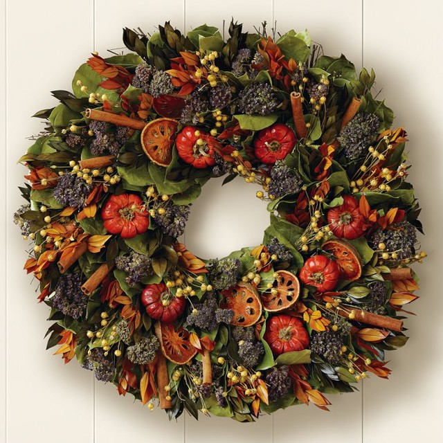 Quince and Cinnamon Stick Wreath traditional holiday outdoor decorations