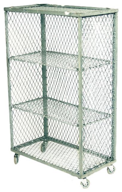 Vintage Industrial Steel Wire Rack on Casters - Eclectic - Towel Racks ...