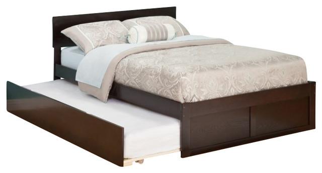 Atlantic Furniture Orlando Platform Bed with Flat Panel Footboard & Trundle Set, contemporary-platform-beds