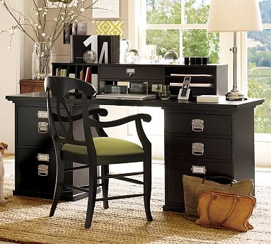 ... File & 1 3-Drawer File Cabinet, Black - Traditional - Filing Cabinets