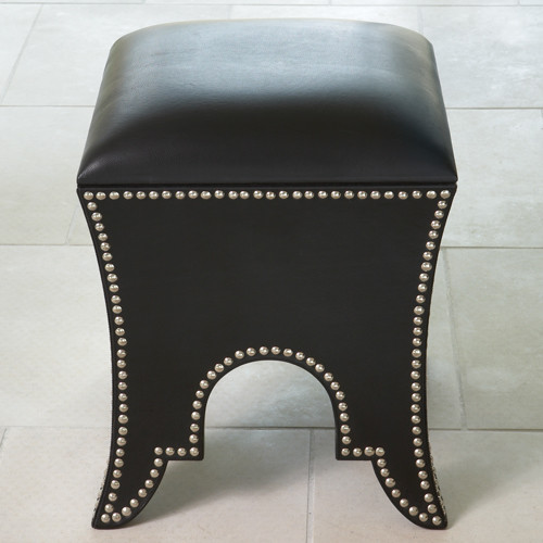 Moroccan Cowhide Leather Poof in Black Leather footstools-and-ottomans