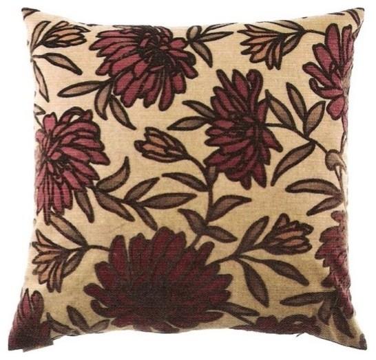 Burgundy Floral Throw Pillows : 24