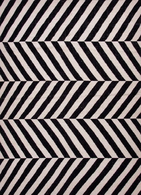 Geometric Rug Herringbone Black & White modern-rugs