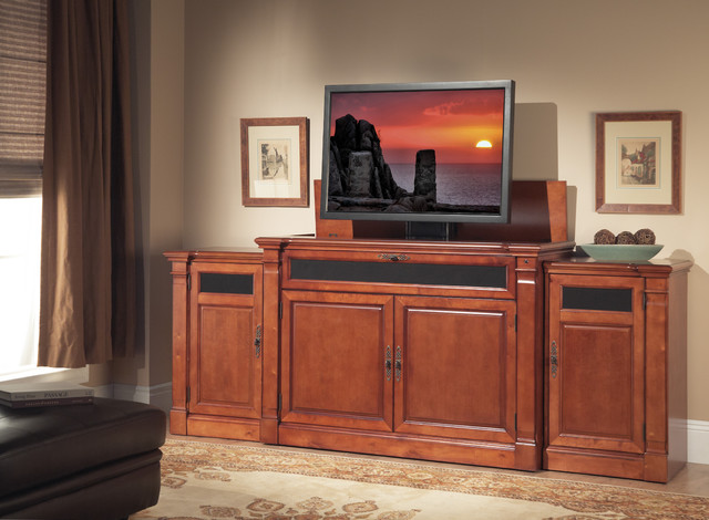 Adonzo TV Lift Cabinet with Side Cabinets For Flat Screen TV's Up To ...