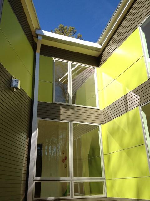 Exterior green panels modern-exterior