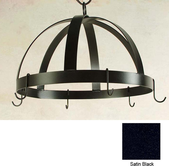 "Half Dome Wall-Mount Rack with 6 Hooks - 20"" Wide - Aged Iron modern-pot-racks"