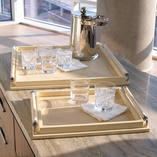 Global Views Wrapped Handle Tray in Ivory Leather traditional serveware