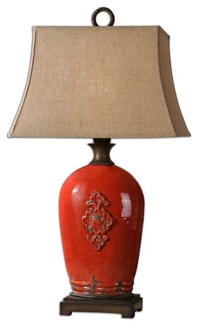 Mataline Crackled Red Lamp asian-table-lamps
