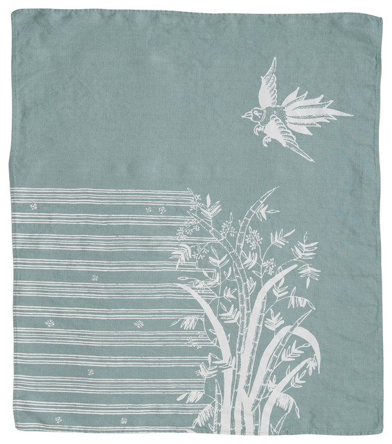 Indochine Friendship Hand Towel, Sky/White contemporary-dish-towels