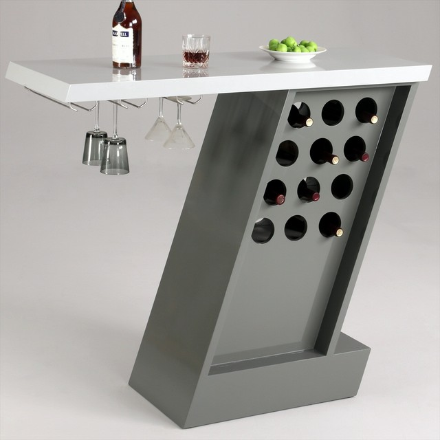 Greenwich Modern Home Bar with Wine Glass Storage Rack - Contemporary - Wine Racks - by Modern ...