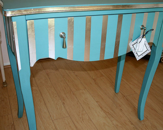 Gilded Projects - Turquoise accent table with applied silver leaf