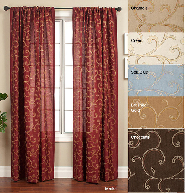 Isis scroll rod pocket 120 inch curtain panel for 120 inch window treatments