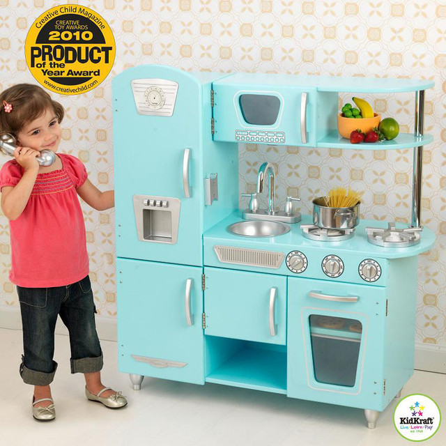Aqua Blue Vintage Play Kitchen Modern Kids Toys And