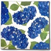 Floral Art Dinner Napkin- Blue Hydrangea modern-napkins