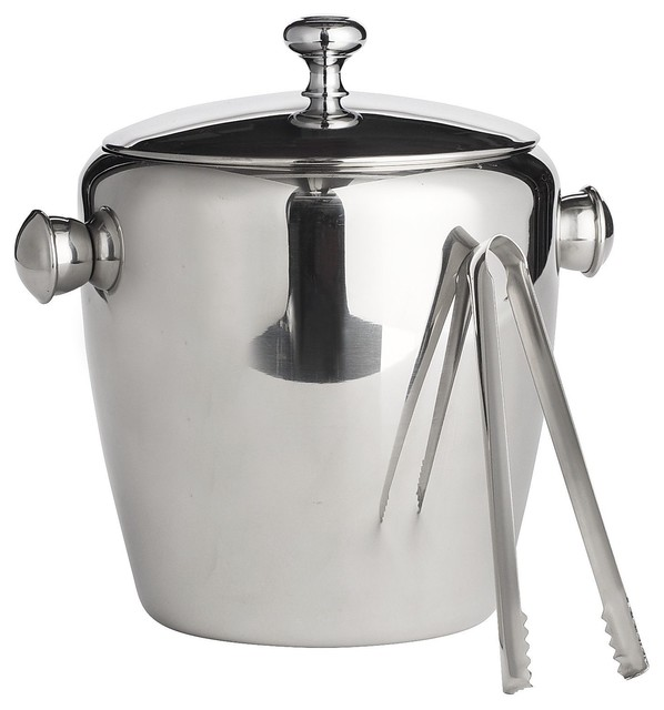 Stainless Steel Ice Bucket With Tongs modern-barware
