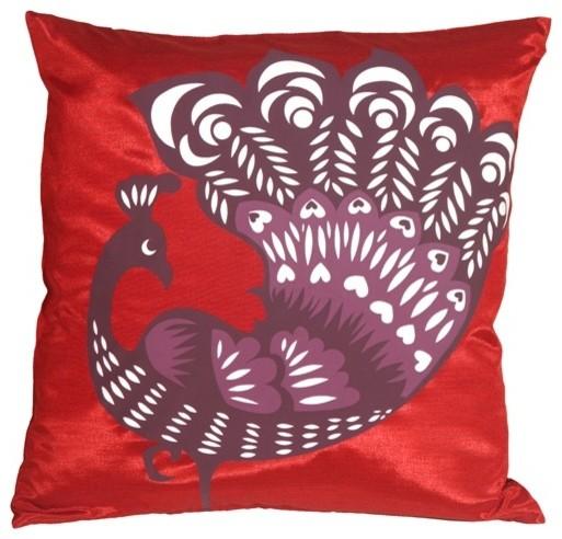 Pillow Decor - Proud Peacock Red Throw Pillow - Contemporary - Decorative Pillows - by Pillow ...