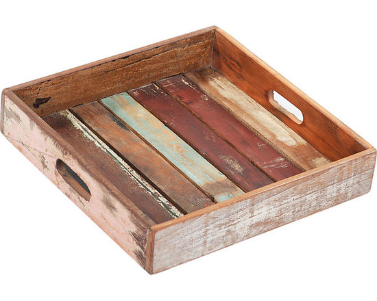 Nantucket Small Tray - Charming and charismatic, the Nantucket Small Tray has rustic appeal. The lovely square tray is crafted from wood panels with assorted, highly distressed paint finishes and features a deep lip all the way around the tray with cut out hand holds for easy service. This tray can be used for serving drinks and appetizers or simply as an accent in the home.