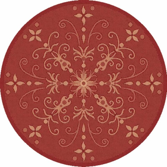 "Dynamic Rugs Piazza 2583-3707 5'3"" Round Red Rug contemporary-rugs"