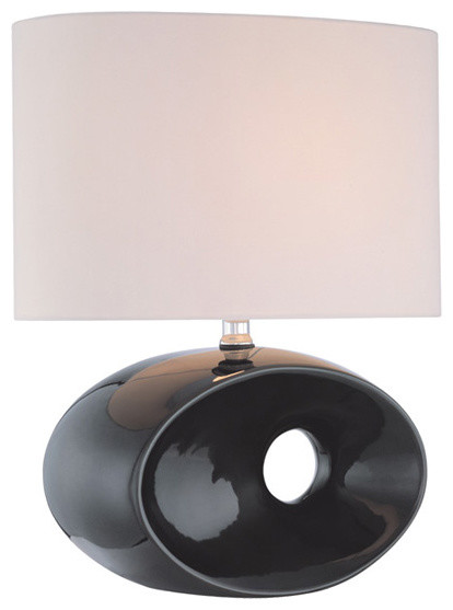 Table Lamp - Black Ceramic Body/Fabric Shade traditional-table-lamps