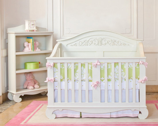 Children's Furniture - The Chelsea Lifetime Crib is the last bed your child will ever need. This amazing piece begins as a crib, and converts into a full sized bed, complete with ornate headboard and stylish footboard. Shown in stunning white, this design is absolutely glamorous.
