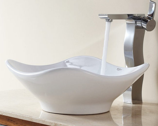 "Kraus C-KCV-135-14600CH White Tulip Ceramic Sink and Sonus Faucet - APPLY COUPON CODE ""EDHOUZ30"" AT CHECKOUT. JUST OUR WAY OF SAYING THANKS."